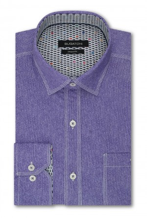 Bugatchi Orchid with White Stitch Detail Long Sleeve Sport Shirt Shaped Fit (JS4502E10S)