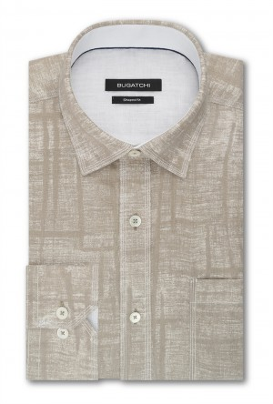 Bugatchi Sand Pattern with White Stitch Detail Long Sleeve Sport Shirt Shaped Fit (JS5049E10S)