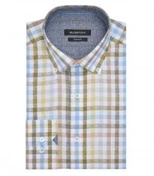 Bugatchi Olive Plaid Button Down Long Sleeve Sport Shirt Shaped Fit (DS3245E12S)