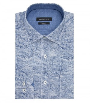 "Bugatchi Air Blue ""Crinkle-look"" Long Sleeve Sport Shirt Shaped Fit (DS3285E9S)"