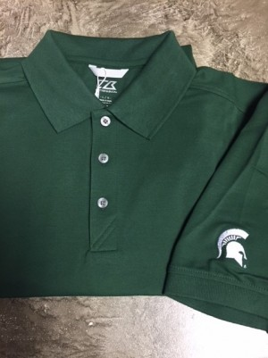 Cutter & Buck Green Michigan State Spartans DryTec Cotton 3 button Polo Short Sleeve