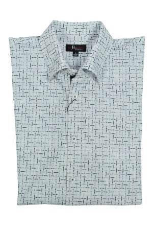 Jon Randall Grey Abstract Long Sleeve Sport Shirt (J756)