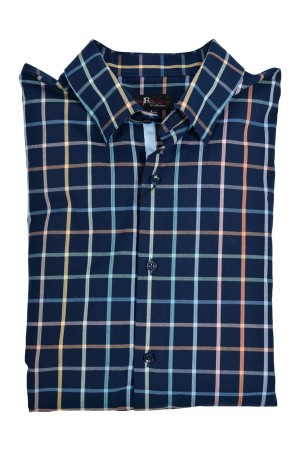 Jon Randall Blue Plaid Cotton Long Sleeve Sport Shirt (J763)