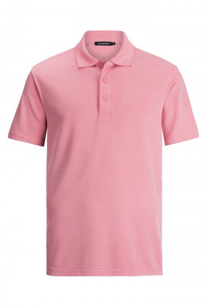 Bugatchi Pink Short Sleeve Polo Shirt (LCF1643F57)
