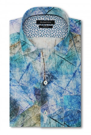 Bugatchi Turquoise Long Sleeve Sport Shirt Shaped Fit (LS3364S17S)