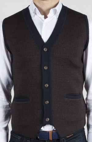 Luchiano Visconti Brown with Blue Print Knit Button Vest (LVW17)