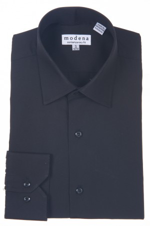 Black Contemporary Fit Regular Cuff Dress Shirt by Modena