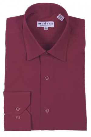 Burgundy Contemporary Fit Regular Cuff Dress Shirt by Modena