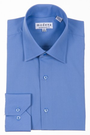 Cadet Blue Contemporary Fit Regular Cuff Dress Shirt by Modena