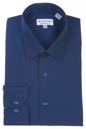 Navy Contemporary Fit Regular Cuff Dress Shirt by Modena
