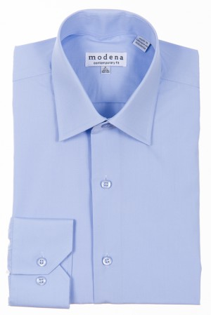 Light Blue Contemporary Fit Regular Cuff Dress Shirt by Modena