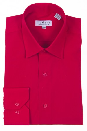 Red Contemporary Fit Regular Cuff Dress Shirt by Modena