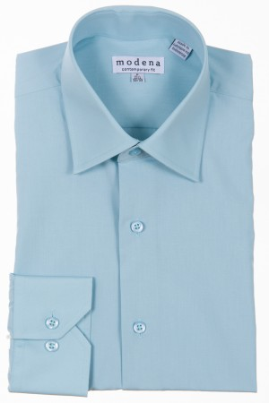 Seafoam Contemporary Fit Regular Cuff Dress Shirt by Modena