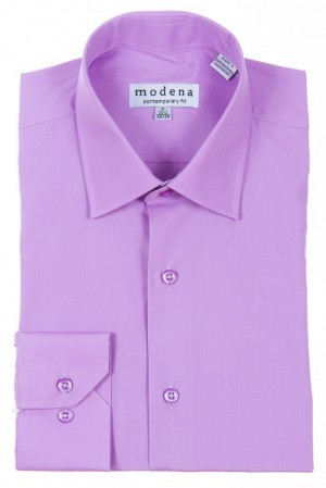 Purple Contemporary Fit Regular Cuff Dress Shirt by Modena