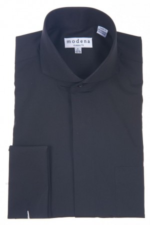 Black Classic Fit  Cut-Away Collar French Cuff Dress Shirt by Modena