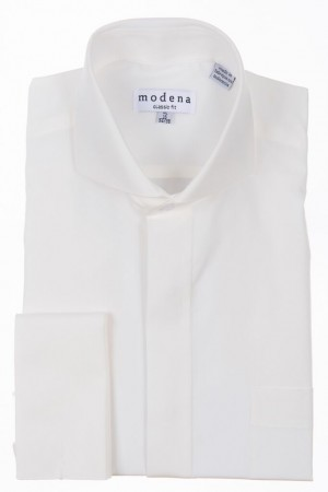 Eggshell Classic Fit  Cut-Away Collar French Cuff Dress Shirt by Modena
