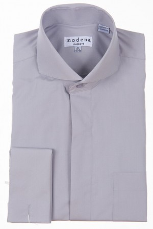 Gray Classic Fit  Cut-Away Collar French Cuff Dress Shirt by Modena