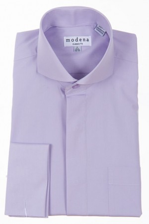 Lavender Classic Fit  Cut-Away Collar French Cuff Dress Shirt by Modena