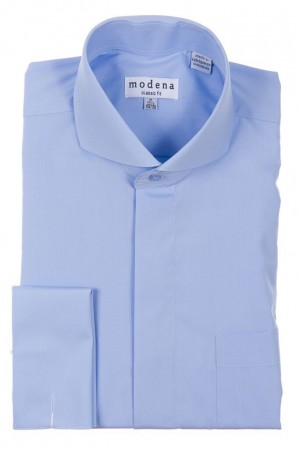 Light Blue Classic Fit  Cut-Away Collar French Cuff Dress Shirt by Modena