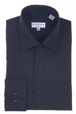 Black Classic Fit Regular Cuff Dress Shirt by Modena