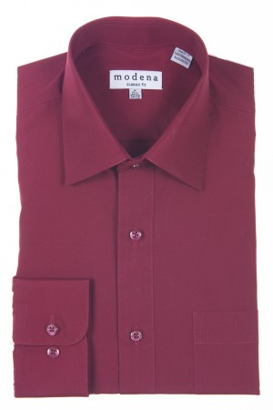 Burgundy Classic Fit Regular Cuff Dress Shirt by Modena