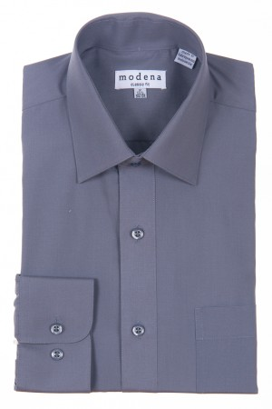 Charcoal Classic Fit Regular Cuff Dress Shirt by Modena