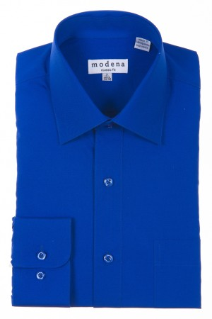 French Blue Classic Fit Regular Cuff Dress Shirt by Modena