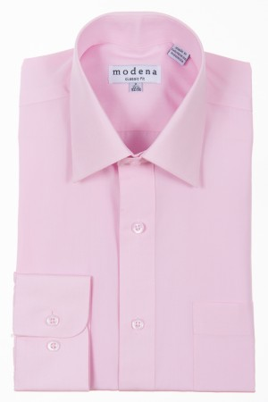 Pink Classic Fit Regular Cuff Dress Shirt by Modena