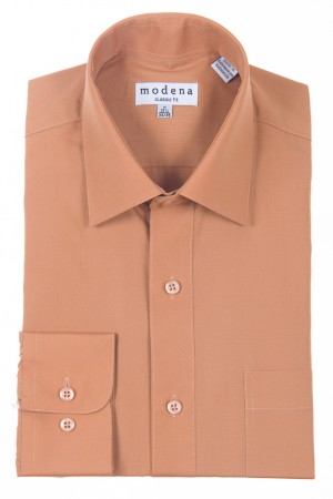 Rust Classic Fit Regular Cuff Dress Shirt by Modena