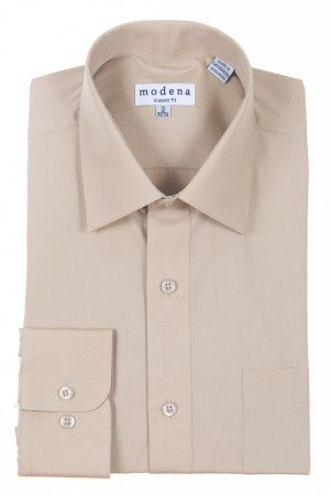 Sand Classic Fit Regular Cuff Dress Shirt by Modena