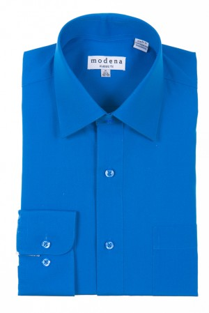 Turquoise Classic Fit Regular Cuff Dress Shirt by Modena