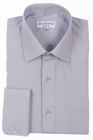 Gray Classic Fit French Cuff Dress Shirt by Modena