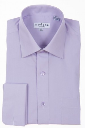 Lavender Classic Fit French Cuff Dress Shirt by Modena