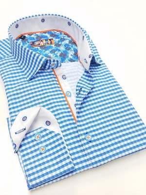 Spazio Powder Blue/white Check Long Sleeve Sport Shirt (1577)