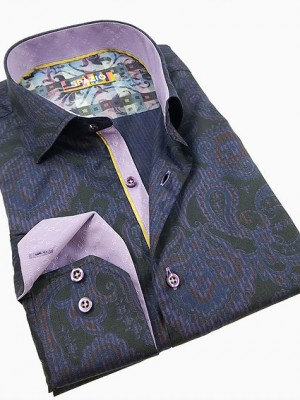 Spazio Black/Purple Paisley Long Sleeve Sport Shirt (1610)