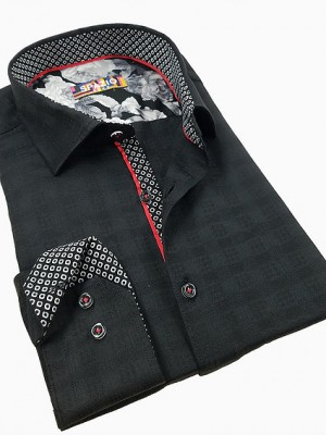 Spazio Black Tone on Tone Long Sleeve Sport Shirt (1614)
