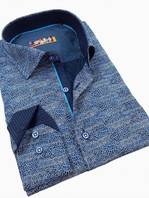 Spazio Blue Abstract Long Sleeve Sport Shirt (1617)