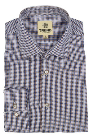 Trend Blend Modern Fit Navy/Brown Micro Neat Grid (T251)  Short Sleeve 60/40