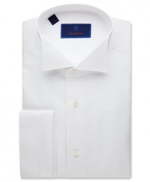 David Donahue Formal Pique Wing Collar French Cuff Regular Fit Dress Shirt (WB6110110)