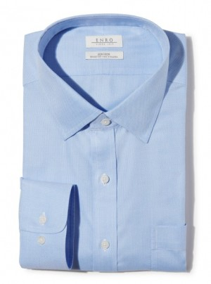 ENRO Essentials | Beverly Queens Oxford Solid Spread Collar Dress Shirt in Blue