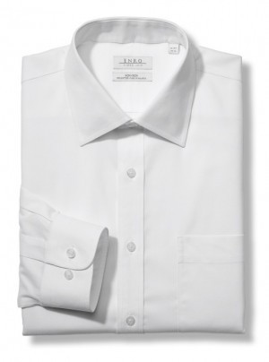 White ENRO Essentials | Pinpoint Solid Oxford Dress Shirt With Spread Collar In White