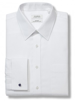 White ENRO Essentials | Newton Pinpoint Oxford Solid Point Collar Dress Shirt with French Cuff