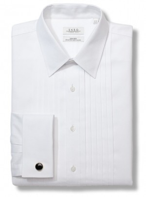 ENRO Essentials | Pleated Tuxedo Point Collar Formal Shirt with French Cuff