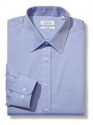 Light Blue ENRO Essentials | Tailored Fit-Newton Pinpoint Oxford Solid Spread Collar Dress Shirt