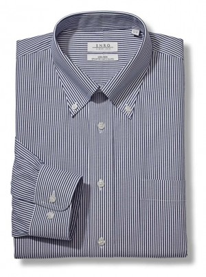ENRO Essentials | Navy Bengal Stripe Pinpoint Oxford Button Down Collar Dress Shirt