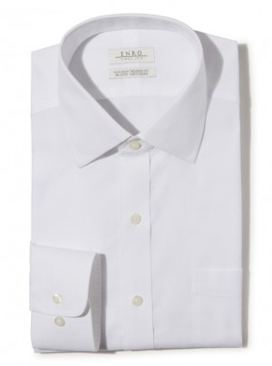 ENRO Essentials | Beverly Queens Oxford Solid Spread Collar Dress Shirt in White