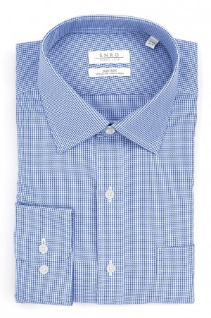 ENRO Essentials | Blue Houndstooth Spread Collar Dress Shirt