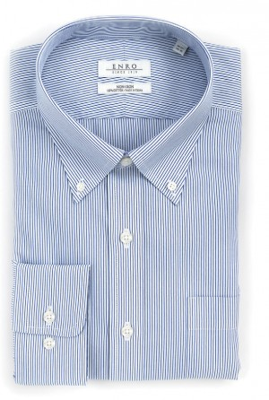 ENRO Essentials | Kramer Navy Stripe Button Down Collar Dress Shirt