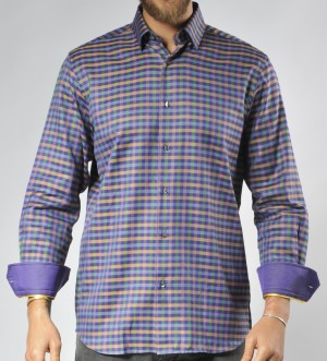 Luchiano Visconti Purple Check Long Sleeve Sport Shirt (3541)