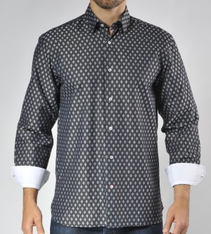 Luchiano Visconti Silver/Black Diamond Long Sleeve Sport Shirt (3553)